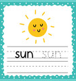 flashcard with word sun for kids writing practice vector image vector image