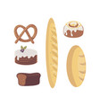 fresh loaf of white wheat bread flat design vector image