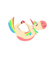 funny unicorn in bow position fantasy beautiful vector image vector image