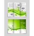 Green wave tri-fold brochure vector image vector image