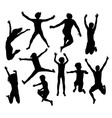 Happy Jumping Kid and Family Silhouettes vector image vector image