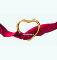 happy valentines day golden heart shape vector image