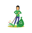 happy woman cleaning and raking leaves save green vector image