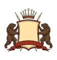 heraldic logo element bears with shield vector image vector image