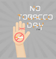 human hands and cigarettequit tobacco logo vector image vector image