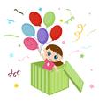 Little girl holding balloons vector image vector image