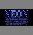 neon font in blue color vector image