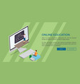 online education template flat web banner vector image vector image