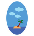 palm tree on island with blue sky on white vector image