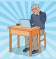 pop art happy senior man using laptop vector image vector image
