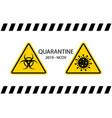 quarantine signs caution coronavirus covid-19 vector image