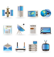 realistic communication and business icons vector image vector image