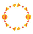 round frame card with pizza slices vector image vector image