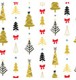 seamless pattern with christmas trees and spruce vector image