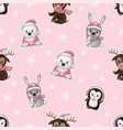 seamless pattern with cute baby animals vector image
