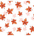 seamless pattern with falling maple red leaves vector image vector image
