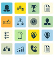 set of 16 human resources icons includes pin vector image vector image