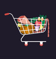 shopping cart food vector image vector image