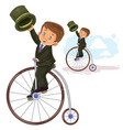 small boy ride retro bike vector image