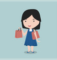 small girl holding shopping bags vector image