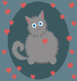 small gray kitten on Valentines Day vector image vector image
