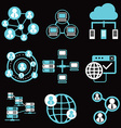 social network icons network and communication vector image vector image
