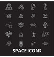 space editable line icons set on black vector image vector image