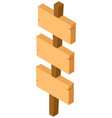three wooden signs on one pole vector image
