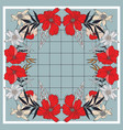 tile floral wrap red bloom navy leavesblue vector image