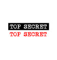 top secret rubber stamp badge with typewriter set vector image