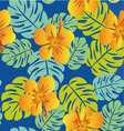 Tropical Pattern with Monstera leaves vector image vector image