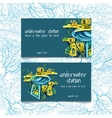 Two cards with underwater stations and text vector image vector image