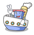 two finger ship character cartoon style vector image vector image