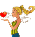 Valentines day girl sending heart vector image