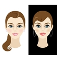 Young woman with daytime and nighttime makeup vector image vector image
