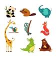 Cute Wild Animal Set of vector image