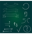 Arrows and banners set Hand drawn chalk on board vector image