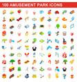 100 amusement park icons set isometric 3d style vector image vector image