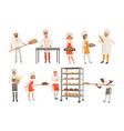 bakers characters set with bread and cooking tools vector image