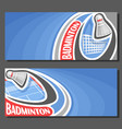 banners for badminton vector image vector image