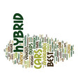 best hybrid cars text background word cloud vector image vector image