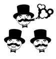black and white set of men in top hats vector image vector image