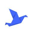 blue bird made of paper in origami technique vector image