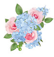 bouquet roses and phloxes vector image vector image