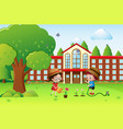 boy and girl watering plants at school vector image vector image