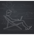 Businessman sitting in chaise lounge with laptop vector image vector image