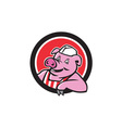 Butcher Pig Leaning Circle Cartoon vector image vector image