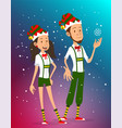 cartoon boy and girl in christmas elves costume vector image