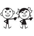 cartoon characters of boy and girl vector image vector image