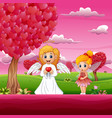 cartoon cupid and a little fairy under the heart s vector image